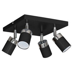Ceiling Spotlight Hall New Black Silver 4-flammig GU10 Modern Cylinder