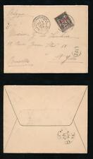 FRENCH LEVANT 1899 TURKEY 1pi on 25c to BELGIUM VFU POSTMAN 103 + ENVELOPE