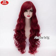 Women Girls Dark Wine Red Popular Long Curly 80cm Lolita Anime Basic Cosplay Wig
