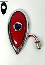 Flush Mount Blue Dot LED Tail Light w/ Chrome Bezel & Gasket for 1938-1939 Ford