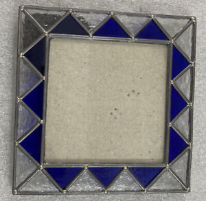 """Stained Glass Picture Photo Frame 5"""" x 5"""" blue & clear"""