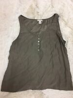 J. Crew Women's Top Size 12 Beige 100% Silk Sleeveless