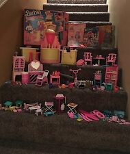 LOT OF 100+ BARBIE DOLL SIZE DOLL FURNITURE & ACCESSORIES PINK PET HORSE SALON