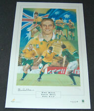 STEPHEN LARKHAM SIGNED AUSTRALIA WALLABIES THE KICK THAT WON THE CUP RUGBY PRINT