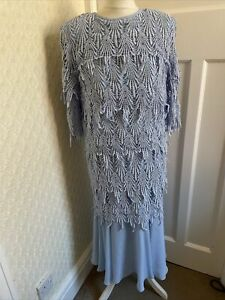 GINA BACCONI Vintage Blue 1920s Style Art Deco Mother Of The Bride Dress Size 16