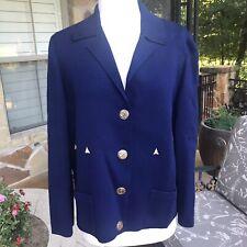 Vtg 60's Gino Paoli 100% Wool Nautical Buttons Made Italy Cardigan Blue Medium