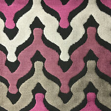 Leicester - Bold Chevron Cut Velvet Upholstery Fabric by the Yard - Amethyst