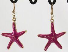 "Huge Enameled Textured Starfish Sea Star Dangle Earrings Gold Dark Pink 1.25"""