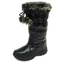 LADIES BLACK WARM WINTER SNOW RAIN SKI THERMAL ICE BOOTS SHOES SIZES 3-8