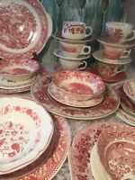 6 Place Sets Vintage Mismatched China Ironstone pink White red Transferware #42