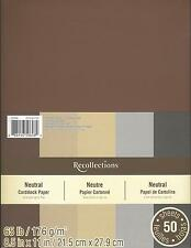 "New Recollections 8.5x11"" Cardstock Paper Neutral #2 Black Brown Grey 50 Sheets"