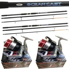 2 x 15FT Beach caster Sea Fishing Rod + Reel Set SILK 70 Reels + Oceancast Rods