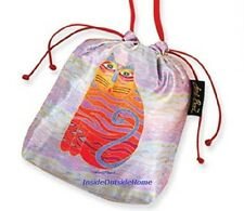 Laurel Burch Drawstring CrossBody Makeup Bag Striped Cat Gift Jewelry Pouch