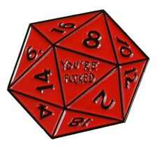 Rpg gaming red Pin enamel Us Seller You're F* D20 Dungeons and Dragons dice