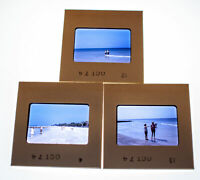 Vintage 35mm Photo Transparency Slides - Family at the Beach 1974 | Lot of 3