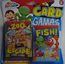 Grafix Card Games Pack Zoo Escape and Fish! 2 Packs of Cards & Instructions