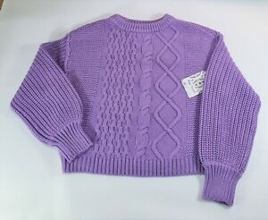 New Free People Dream Cable Crewneck Sweater Jumper Size Small RRP £88 Free P&P