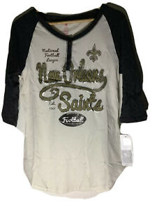 Teens NFL New Orleans Saints football beige and black T-shirt jersey size XL NWT