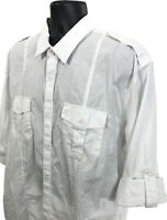 Pronto Uomo Blue Shirt Mens Size XXL White Modern Fit Long Tab Sleeve 2XL