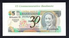 Barbados 5 DOLLARS 2002 P. 67A Comm. 30th CENTRAL BANK ND 2012 UNC DeLaRue Card