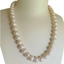 Elegant Large 10x11-12mm Freshwater Natural White Pearl Oval necklace 46cm DL333