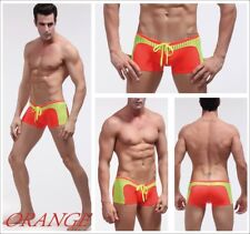 Sexy swimming BOXER SHORT fitted trunks Bright beach pool lined stretch 1014-xpj