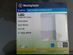 """3 Westinghouse  100W Equivalent 6"""" Square Recessed LED Downlight Dimmable NIP"""