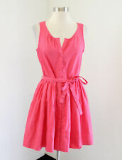 NWT GAP Pink Embossed Stripe Fit and Flare Sleeveless Shirt Dress Size 4P P4