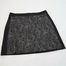 Banana Republic Women Black Animal Print Front ZIPPER Mini Skirt Size 8