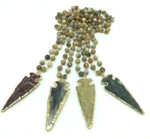 Fashion Woman Jasper stone link necklace w resin arrowhead pendant free shipping
