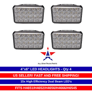 "4""x6"" LED Headlights CREE Light Bulbs Replace H4656/4651 Sealed Headlamp Set 4"