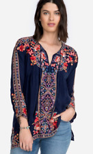 New Johnny Was Alora Blouse Embroidered Long Sleeve Blue Tunic XL Gorgeous!! NWT