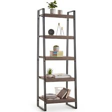 Rustic 5 Tier Shelf Unit Book Ornament Artwork Storage Display Bookcase Shelving
