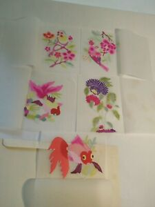 Vintage Chinese Paper-Cuts 2 Birds 2 Fish and a Passion Flower 1970's