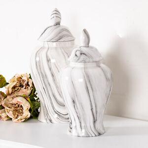 Marble Effect Ginger Jar Storage Decor Display Lattice Home Decoration Chic