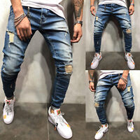 Mens Ripped Skinny Jeans Destroyed Frayed Slim Fit Biker Denim Pants Trousers US