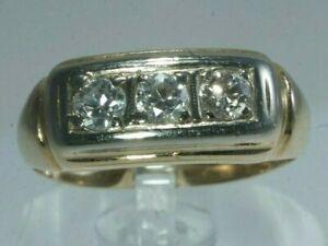 ANTIQUE Men's 14K Yellow Gold 1/2ctw EUROPEAN CUT DIAMOND 3-Stone Ring, Size 7.5