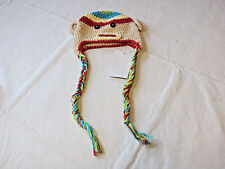 BeBe Oh La La Monkey beanie knit hat with ears and tie baby youth New Nwt
