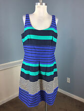 Ann Taylor LOFT M 10 Blue Green Stripe Flare Dress Career Cocktail Cotton EUC