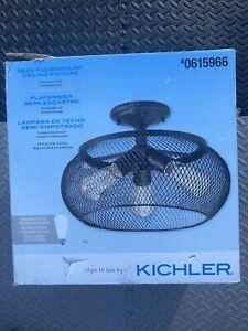 "Kichler Olde Bronze Finish 14"" Metal Mesh Shade Semi-Flush Mount Light OPEN BOX"