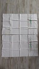 Vintage Pair Hand Embroidered Green & Pink Floral Pillowcases