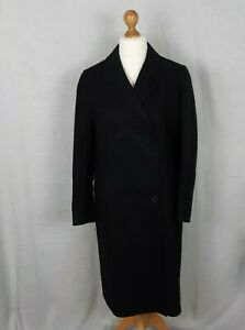 """COS Long Black Coat Wool and Cashmere Double Breasted Size 16 EU 42 42"""" Chest"""