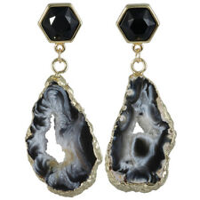 Hexagonal Black Agate Druzy Geode Quartz Agate Stud/Dangle Earring Charm Jewelry