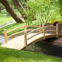 Natural Finish Wood 8 Foot Garden Bridge Outdoor Yard Lawn Landscaping Decor