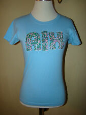 ARMANI EXCHANE LIGHT BLUE BEADED BEADS T SHIRT BLOUSE SIZE X SMALL