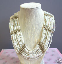 Goldtone Beaded Ivory/White Layered Beaded Necklace Boho-Beach Style