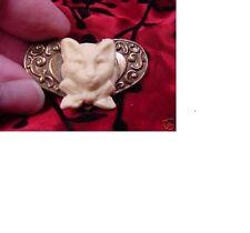 (CS28-2) little KITTY cat ivory CAMEO herat brass Pin Pendant brooch necklace