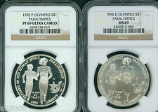 New listing 1995-P & 1995-D Paralympics Silver Dollar Ngc Ms69 Pf69 Pr69 2-Coins Set !