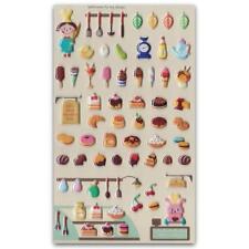 ✰ CUTE BAKERY SHOP PUFFY STICKERS Pearl Finish Sheet Kid Craft Dessert Sticker