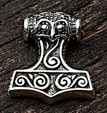 NORSE VIKING THORS HAMMER STERLING SILVER MENS PENDANT LEATHER CHAIN NECKLACE